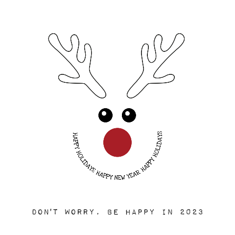 Kerstkaart trendy en grappig Rendier don't worry be happy