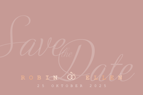 Save the Date | Stijlvol, hip, roze en trouwringen | Rosé goudfolie
